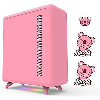 HanFei FIELD Q-Serie Rosa PC-Gehuse, mit 3 DIY-Aufklebern, 5-V-Lichtleisten, Desktop-Computergehuse