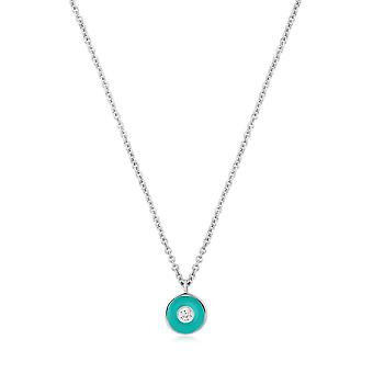 Ania Haie Teal Enamel Disc Silver Necklace N028-01H-T