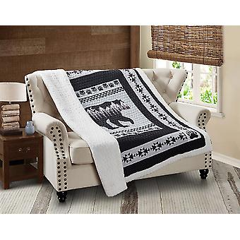 Spura Home Pictorial Moon Bear: Black and White Quilted Sherpa Throw