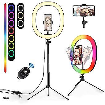 HanFei Ringlicht mit Stativ, RGB Selfie Licht mit 3 Farbe und 10 Helligkeitsstufen LED
