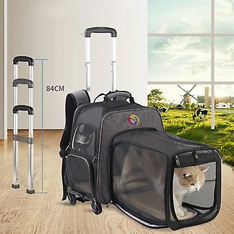 New expandabale and Portable Rod Cat Case on Wheel Breathable Pet Carrier Bag Outdoor Travel Backpack For Cat And Dog