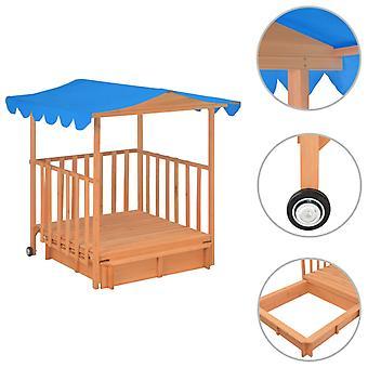 vidaXL kinderspeelhuis met zandbak spar hout Blauw UV50