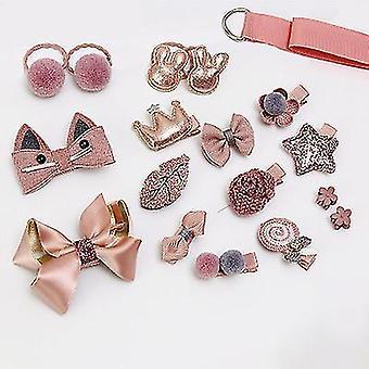 Accessori per capelli per bambini Set di 18 pezzi Copricapo Principessa Carino Bambina Tornante (Rosa)