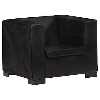 vidaXL Armchair Black Real Leather