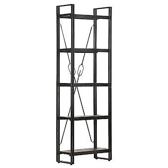 vidaXL bibliothèque 5 compartiments noir 60x30x180 cm bois massif de mangue