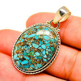 """Pingente azul de cobre composto turquesa 1 1/4"""" (925 Sterling Silver) - Handmade Boho Vintage Jewely PD9073"""