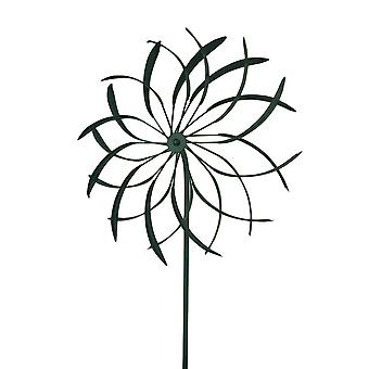 18 in. Metal Garden Stake Flower Wind Spinner Sculpture