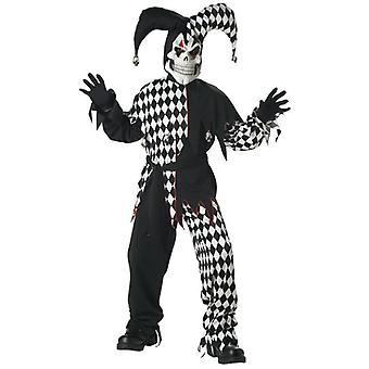 Evil Jester Mardi Gras Black White Joker Horror Clown Halloween Boys Costume