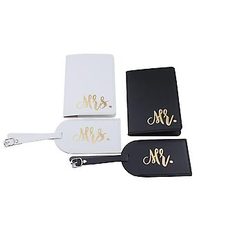 Couple Mr. Mrs. Luggage Tag & Passport Cover Pu Leather