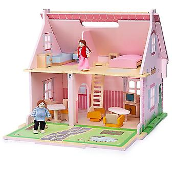 Toy trains train sets heritage playset blossom cottage - wooden doll house with furniture
