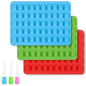 Moules d'ours gommeux en silicone - Moules en silicone au chocolat sans Bpa, pack de 3 avec 3 compte-gouttes