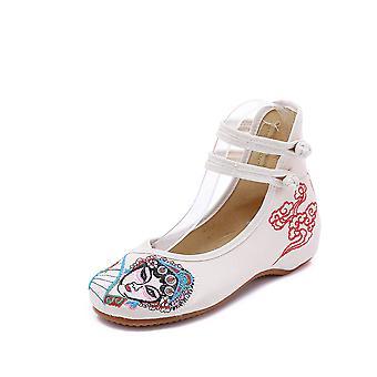 Women's Chinese Retro Ethnic Embroidery Low Heel Flat Elevator Cheongsam Dress Shoes Cutter Madan