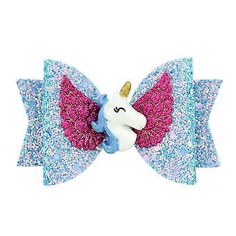 3,5 tommer Glitter Angle Wing Hair Bows Enhjørning Buer Piger Hårnåle Fairy Clips Håndlavede Chunky Barrettes Party Outfit Hovedbeklædning