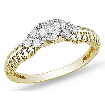 Affici Sterling Silver Semi Eternity Ring 18ct Yellow Gold Plated ~ Cluster of Diamond CZ Gems