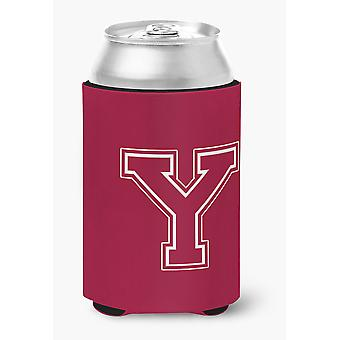 Letter Y Initial Monogram - Maroon and White Can or Bottle Beverage Insulator Hu