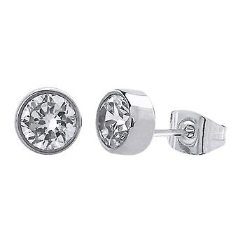 Stainless steel unisex ear studs, round shaped, polished