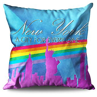Pride Love Urban New York Linen Cushion 30cm x 30cm | Wellcoda