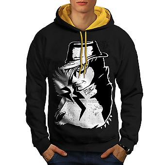 Anime Cool Japan Men Black (Gold Hood)Contrast Hoodie | Wellcoda