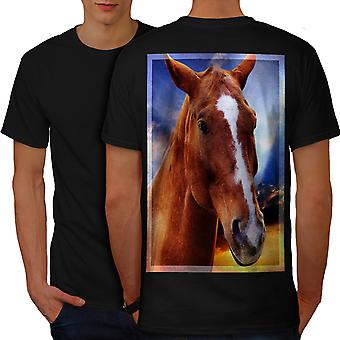 Face Wild Animal Horse Men BlackT-shirt Back | Wellcoda