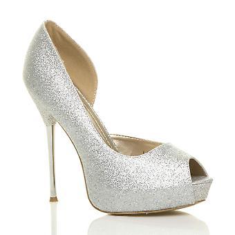 Ajvani naisten stiletto korkokenkiä glitter platform häät prom osapuolen Sandaalit kengät pumppuja
