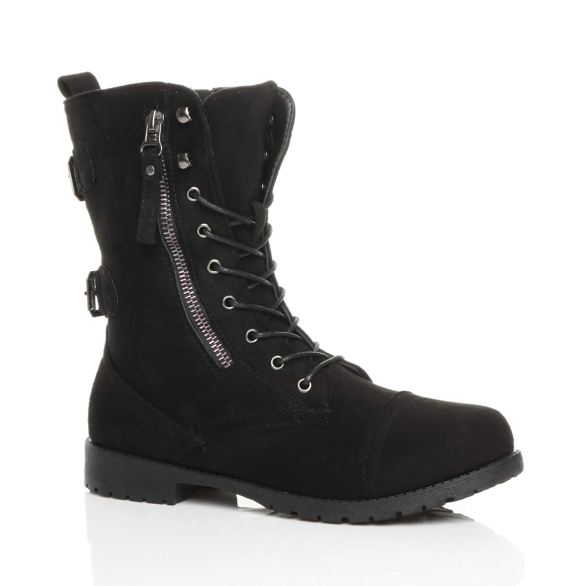 Ajvani damskie płaskie niskie pięty koronki do zip, buty za kostkę wojskowej walki armii Eq9KU