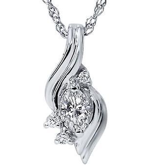 1 / 5ct Marquesa fantasia diamante Solitaire sotaque pingente ouro branco 14K