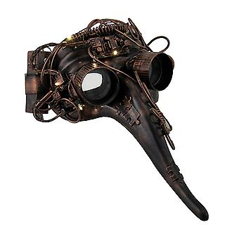 Metallic Steampunk Plague Doctor LED Light Up Costume Mask w/Goggles