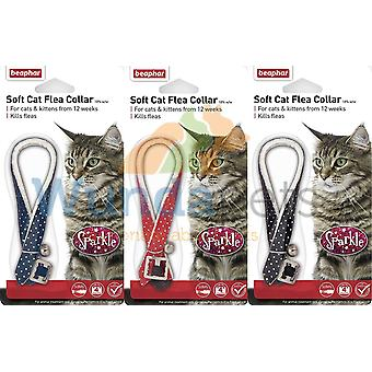 BEAPHAR SPARKLE CAT KITTEN TREATMENT COLLAR WITH BELL x 3 PACK