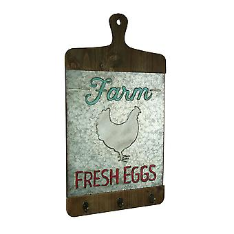 Galvanized Finish Farmhouse Chicken Cutting Board Wall Hook