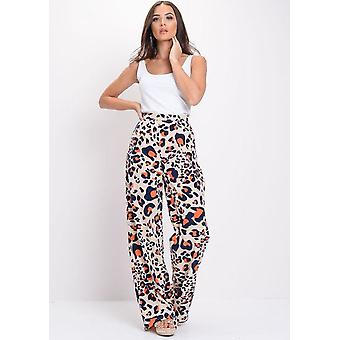 High Waisted Leopard Print Wide Leg Palazzo Trousers Multi