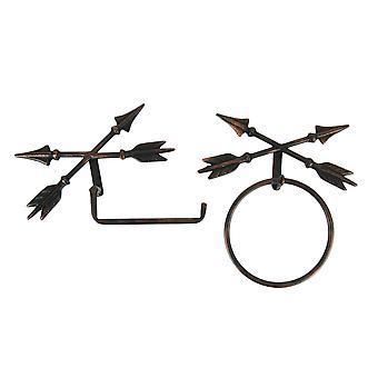 Las flechas cruzadas cobre antiguas colgar toallas y sostenedor de papel higiénico anillo conjunto