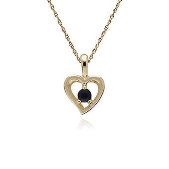 Gemondo 9ct Yellow Gold safir enda sten hjärta hängsmycke på 45cm kedja