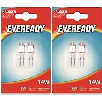 4 x Eveready Eco Halogen 14W Cap Capsule Light Bulb G4 Warm White  [Energy Class C]