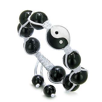 Yin Yang Balance Powers Amulet White Jade Black Onyx Lucky Charm Positive Energies Bracelet