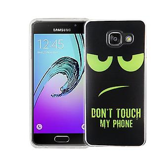 Cell phone case for Samsung Galaxy A3 2016 cover case protective bag motif slim silicone TPU dont touch my Phone Grün