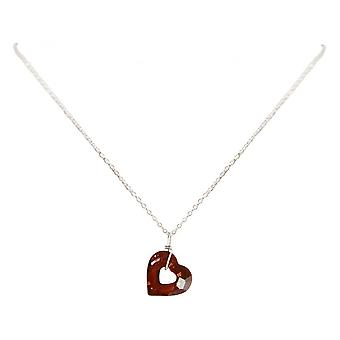 Ladies - - pendant - necklace 925 Silver - red - 45 cm - open heart - heart