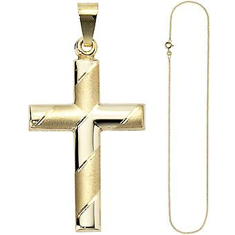 Pendant cross 333 gold yellow gold with chain 45 cm gold cross cross pendant