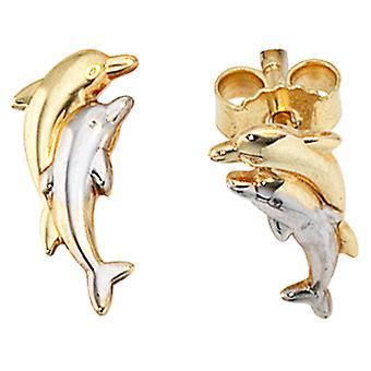 Golfinho parte brincos banhado a ródio 333 /-Delfine ouro brincos ouro brincos