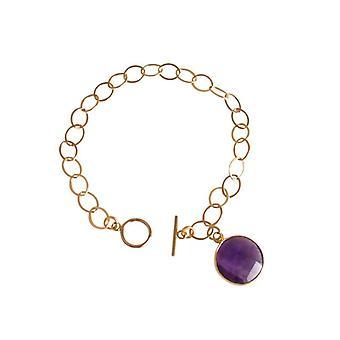 roxo ametista pulseira ametista pulseira pedra preciosa banhado a ouro pulseira bracelete-prata