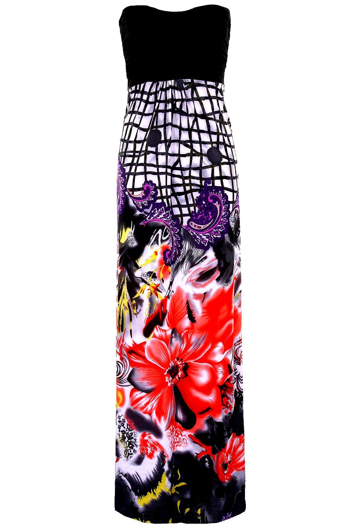 Uusi naisten tavallinen Bust Harmaa kuviollinen Boobtube Bandeau hyvät Maxi mekko