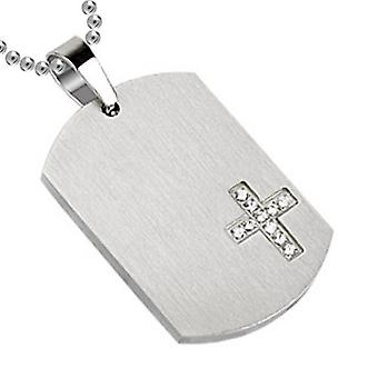 Faceted Edges Dog Tag Pendant, Stainless Steel Jewellery with Chain