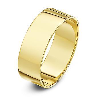Star anneaux de mariage 18 carats jaune or léger plat 7mm bague de mariage