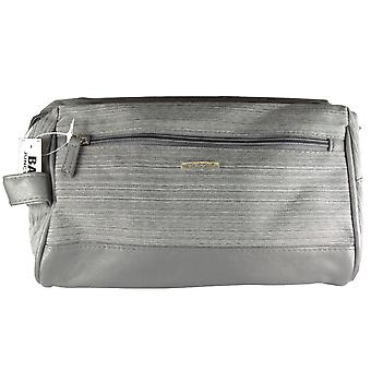 Mens Travel Toiletry Bag Leather Effect Grey