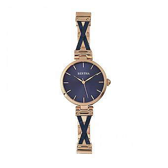 Montre Bracelet de Bertha Amanda Criss-Cross - Rose or/bleu