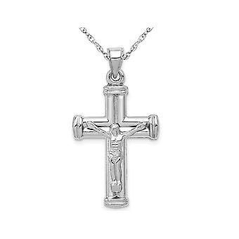 14K White Gold Reversible Crucifix Cross Pendant Necklace with Chain