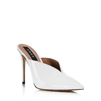 Aqua Womens Flare Leather Pointed Toe Mules