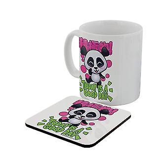 Handa Panda Today Is A Good Day Mug & Coaster Set