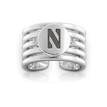 Northwestern University graviert Sterling Silber Diamant Multiband Manschette Ring