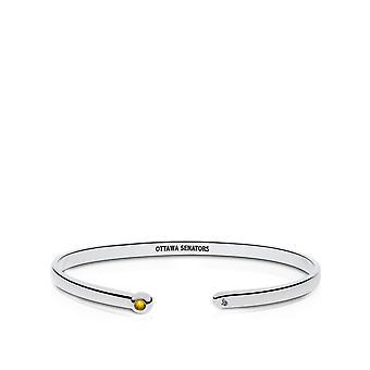 Ottawa Senators Engraved Sterling Silver Yellow Sapphire Cuff Bracelet