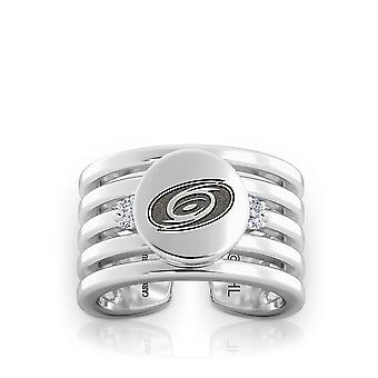 Carolina Hurricanes Engraved Sterling Silver Diamond Multiband Cuff Ring